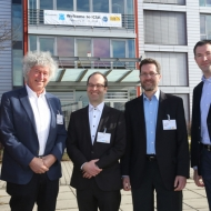 The conference chairs of ICSA 2014: Prof. Malte Kob (HfM Detmold), Dr. Günther Theile (VDT), Dr. Andreas Silzle (Fraunhofer IIS), Prof. Jürgen Herre (International Audio Laboratories Erlangen), Prof. Emanuël Habets (International Audio Laboratories Erlangen). ©Fraunhofer IIS/Kurt Fuchs