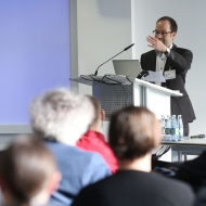 """Dr. Andreas Silzle gave a speech on the topic """"3D Audio Quality Evaluation: Theory and Practice"""" at ICSA 2014. ©Fraunhofer IIS/Kurt Fuchs"""