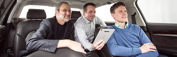 Left to right: Developed by Harald Popp, Oliver Hellmuth and Jan Plogsties, the software solutions Cingo® and Symphoria® create 3D surround sound in vehicles and on mobile devices. | ©Dirk Maher/Fraunhofer