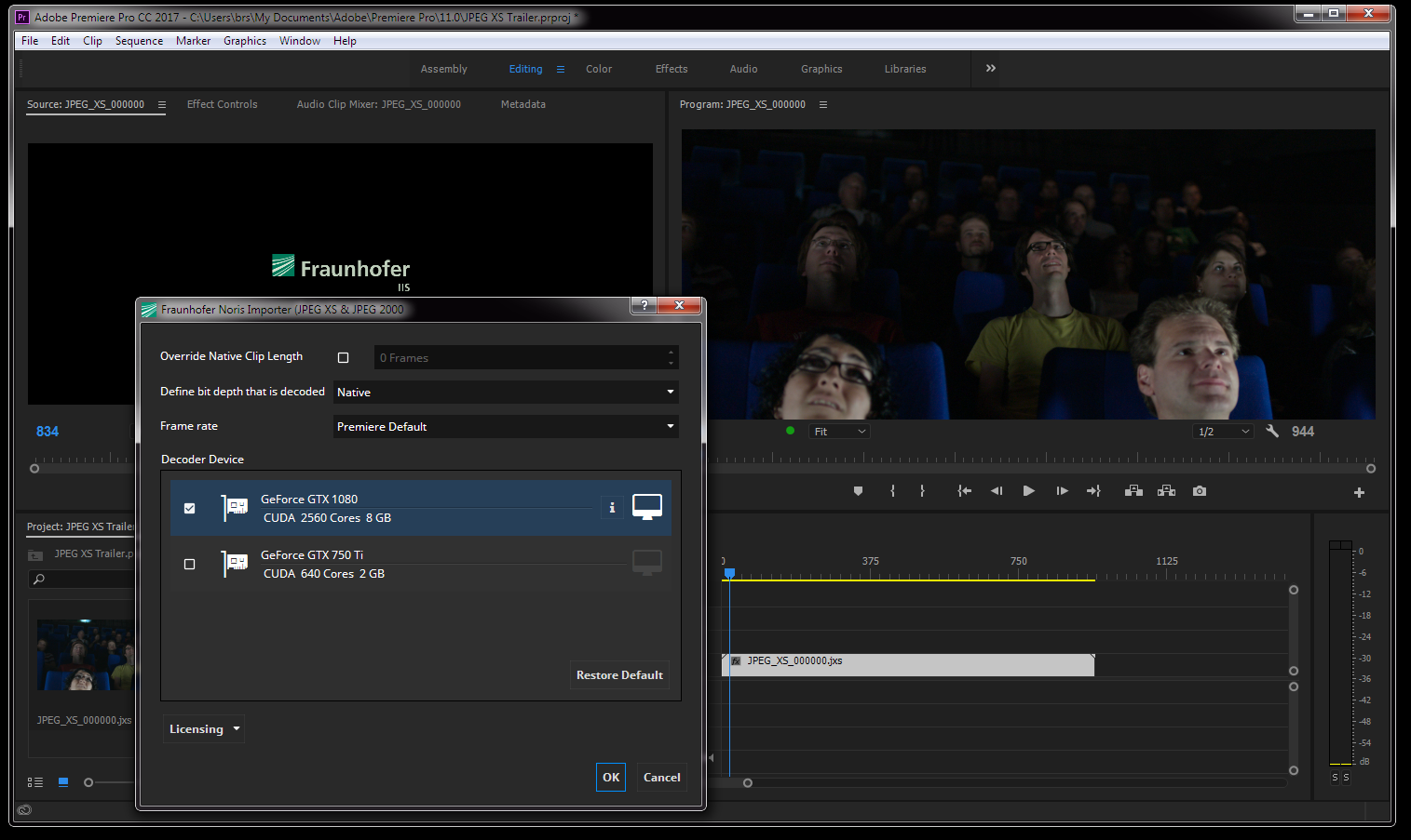 JPEG XS as an input format in a software-plugin for Adobe Premiere Pro CC with real-time playback capability of 4k60p UHD
