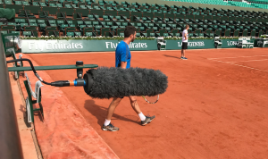 Schoeps Super CMIT © France Télévisions - more images at http://idfrancetv.fr/successful-terrestrial-and-satellite-reception-of-mpeg-h-audio-during-the-roland-garros-french-open/
